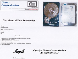 Bridgnorth Hard Disk Drive data destruction certificate